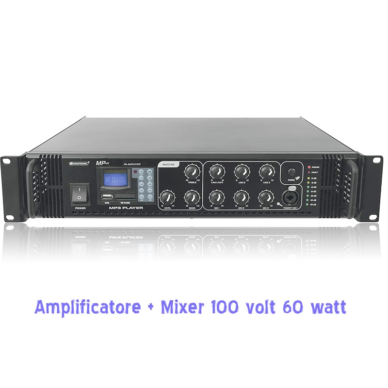 amplificatore mixer 100 v 60 watt