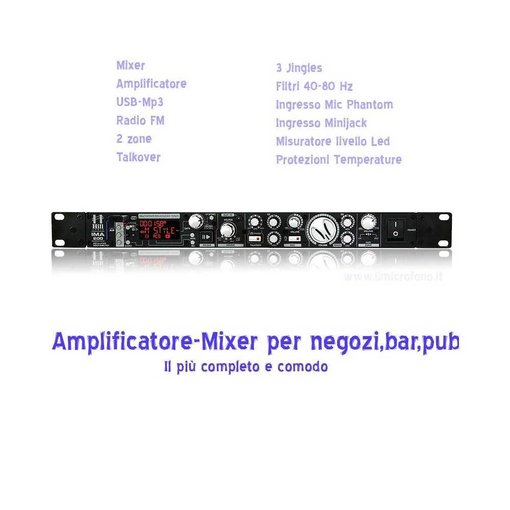 amplificatore-mixer per negozi,pub,showroom piccole installazioni fisse