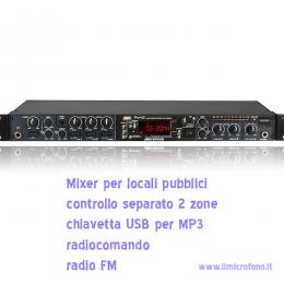vendita mixer ed impianti stereo per ristoranti,palestra,locali,mixer 2 zone con radio,usb,radiocomandato