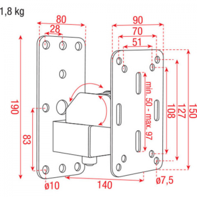 Staffa muro per piccolo diffusore