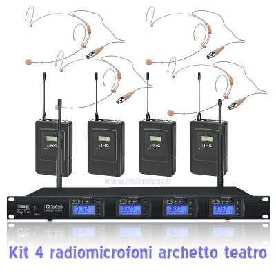Noleggio Kit da 4 Radiomicrofoni ad archetto Pro