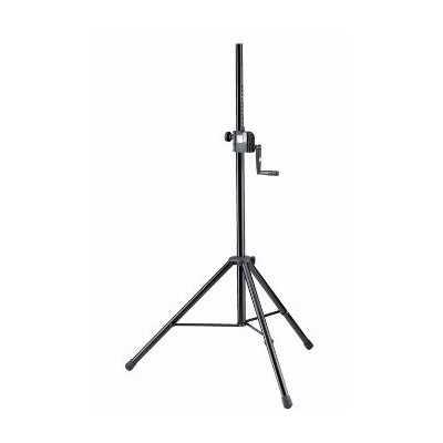 Stand a treppiede con arganello per diffusori - Base in acciaio con 2 sezioni regolabili -